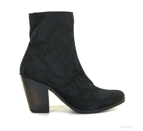 LB711817A LIBERTY BLACK ARIA EMBROIDERED BLACK NUBUCK LEATHER ANKLE BOOTS