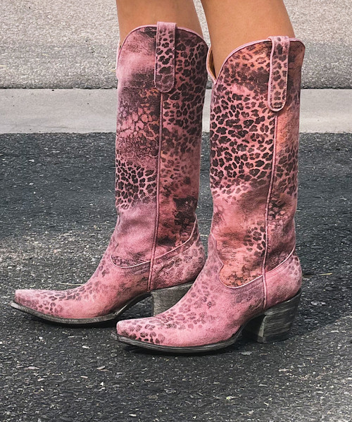 """L 168-5 OLD GRINGO """"EXCLUSIVE"""" PINK LEOPARDITO 15"""" TALL BOOTS Snip Toe/Sintino Heel"""