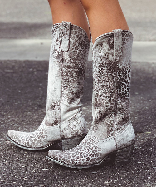 """L 168-11 OLD GRINGO """"EXCLUSIVE"""" GREY LEOPARDITO 15"""" TALL BOOTS Snip Toe/Sintino Heel"""