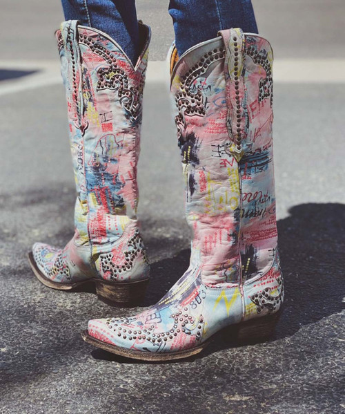 """L 148-111 RF OLD GRINGO CLARITA GRAFITTI """"FROM HERE TO INFINITY"""" RIVETED 15"""" LEATHER BOOT"""