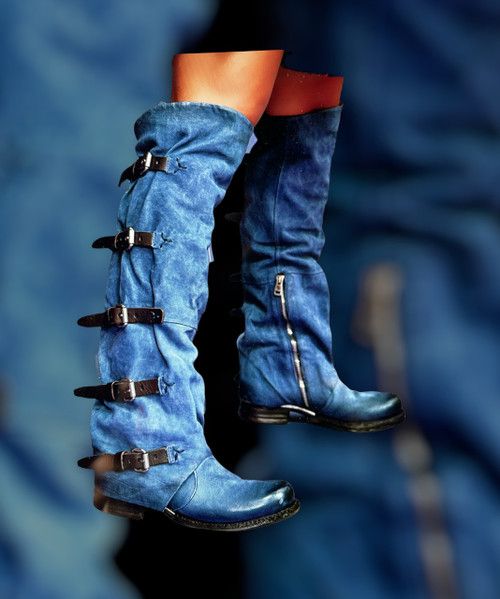 A.S.98 SHAYLYNN TATUM BLUE RIVER BUCKLED LEATHER BOOTS