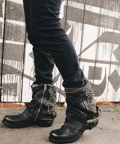 A.S.98 SID NERO BLACK ITALIAN LEATHER STUDDED BOOTS