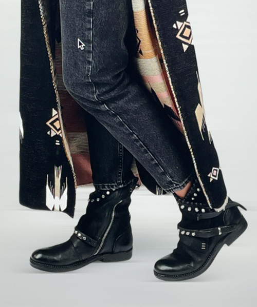 A.S.98 VIANNE NERO BLACK STUDDED ANKLE BOOTS