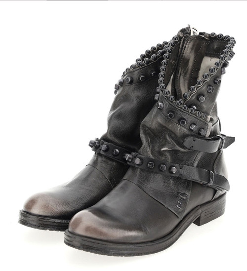 A.S.98 VIANNE ICE NERO ITALIAN LEATHER STUDDED ANKLE BOOTS