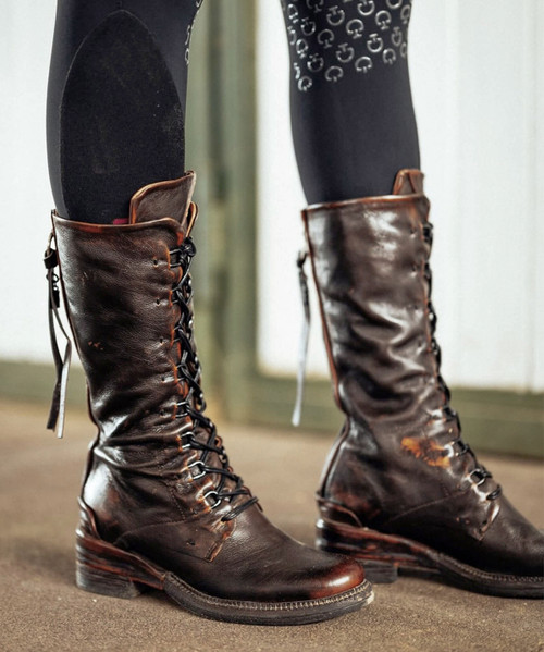 """A.S.98 STEWARD BLACK CALVADOS ITALIAN LEATHER 12"""" LACED BIKER BOOT"""