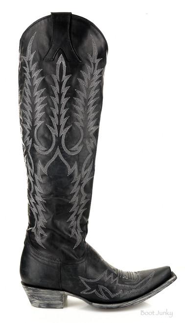 "L1213-15 Old Gringo Mayra Bis Vesuvio Black (Silver Embroidery) 18"" Snip Toe Leather Boots"