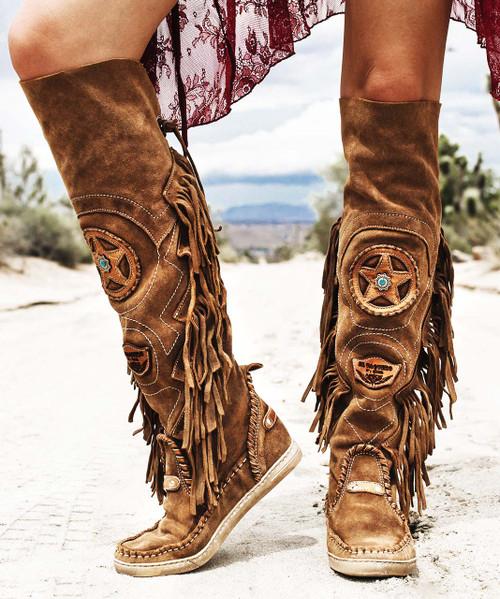 EL VAQUERO Dakota Wornout Carmel Mou Leather Flat Moccasin Boots
