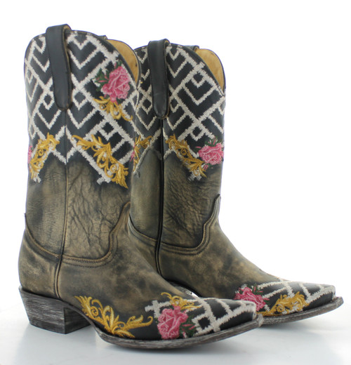 """YL 469-1 YIPPEE KI YAY BY OLD GRINGO KEENE 12"""" BEIGE/BLACK LEATHER BOOTS"""