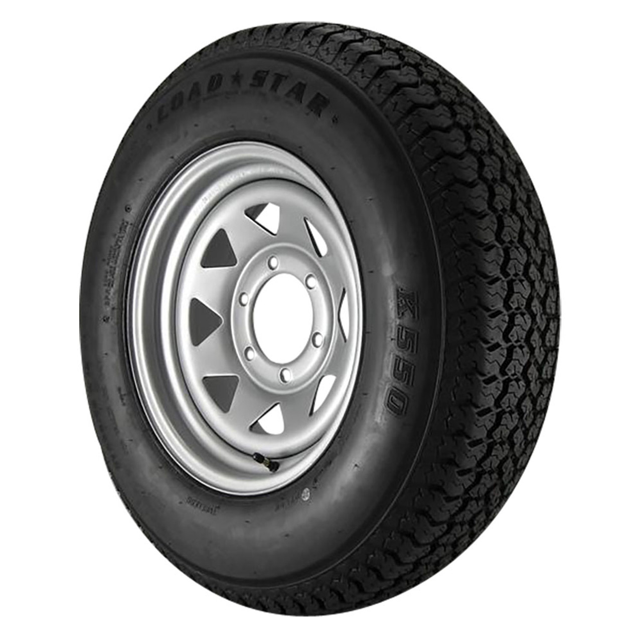 ST225/75D15 Loadstar Trailer Tire LRD on 6 Bolt Silver Spoke Wheel