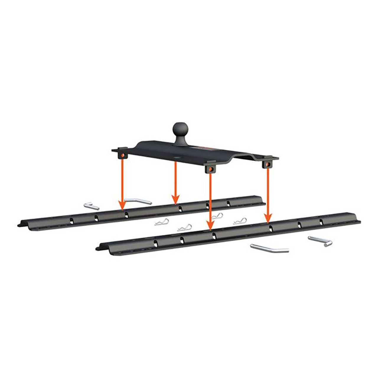 """Gooseneck Bent Plate-2-5/16"""" trailer ball included-Mounts to all standard fifth wheel rails-Durable powder coat finish resists rust and corrosion"""