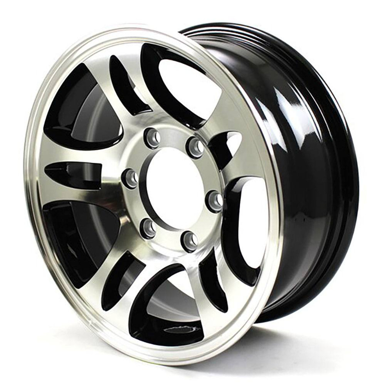 "15x6 6-Lug on 5.5"" Aluminum T03 Trailer Wheel Black Inlay - T03-56655BM"