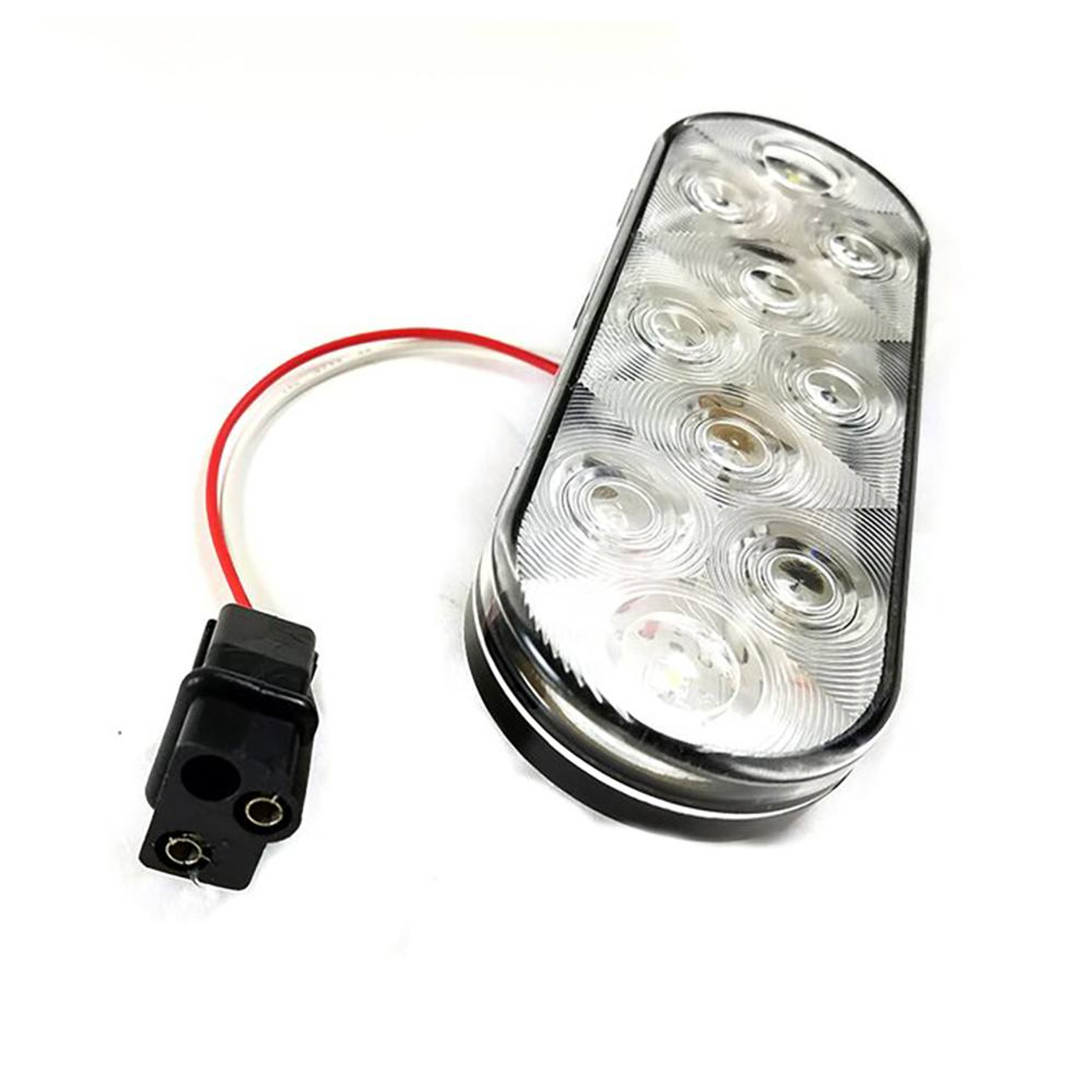 """LED 6"""" Oval Clear Submersible Trailer Reverse Light w/ Wire"""