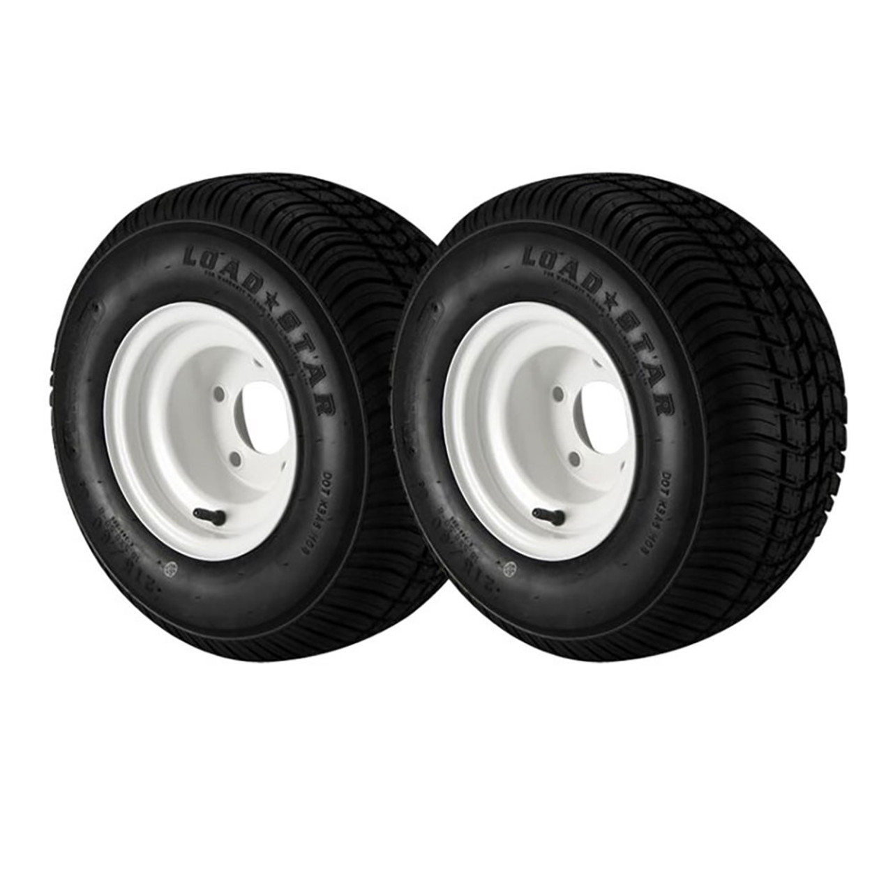 2 Pack - 18.5x8.50-8 Loadstar Trailer Tire LRC on 5 Bolt White Wheel