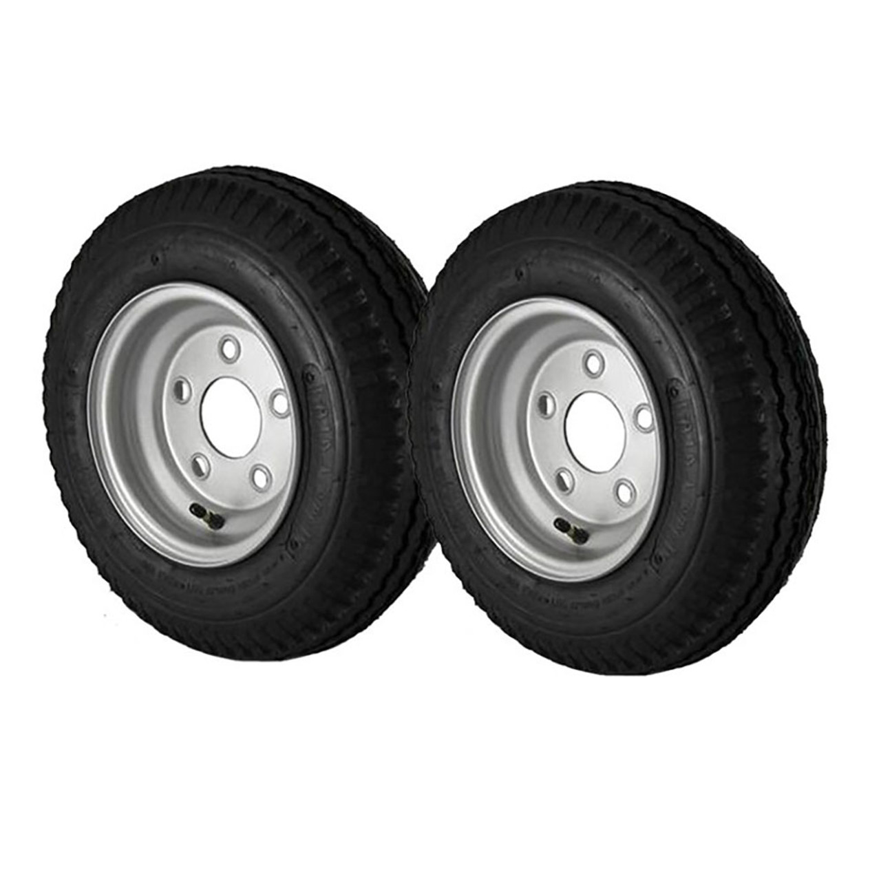 2 Pack - 4.80X8 Loadstar Trailer Tire LRC on 5 Bolt Silver Wheel