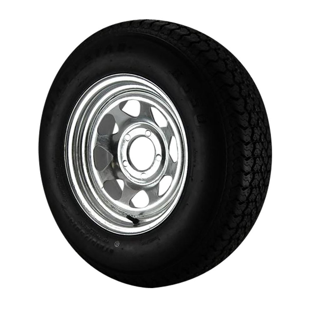 ST225//75D15 Loadstar Trailer Tire LRC on 5 Bolt Galvanized Spoke Wheel