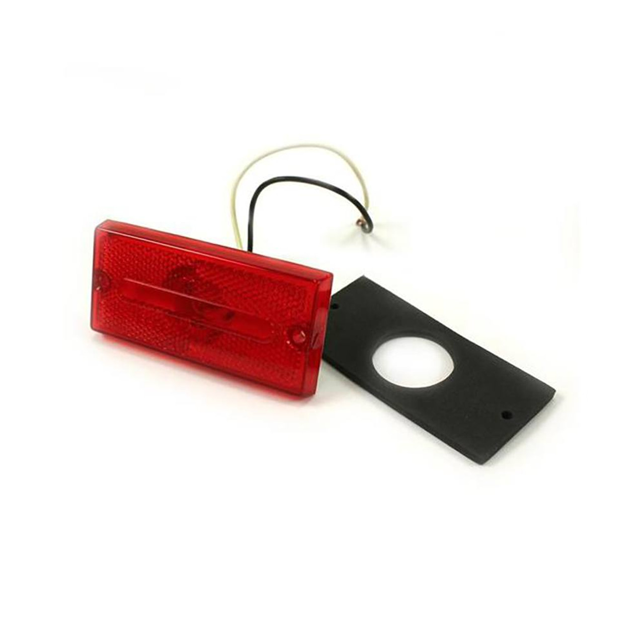 """3.75"""" Red Rectangular Clearance Light Recessed"""