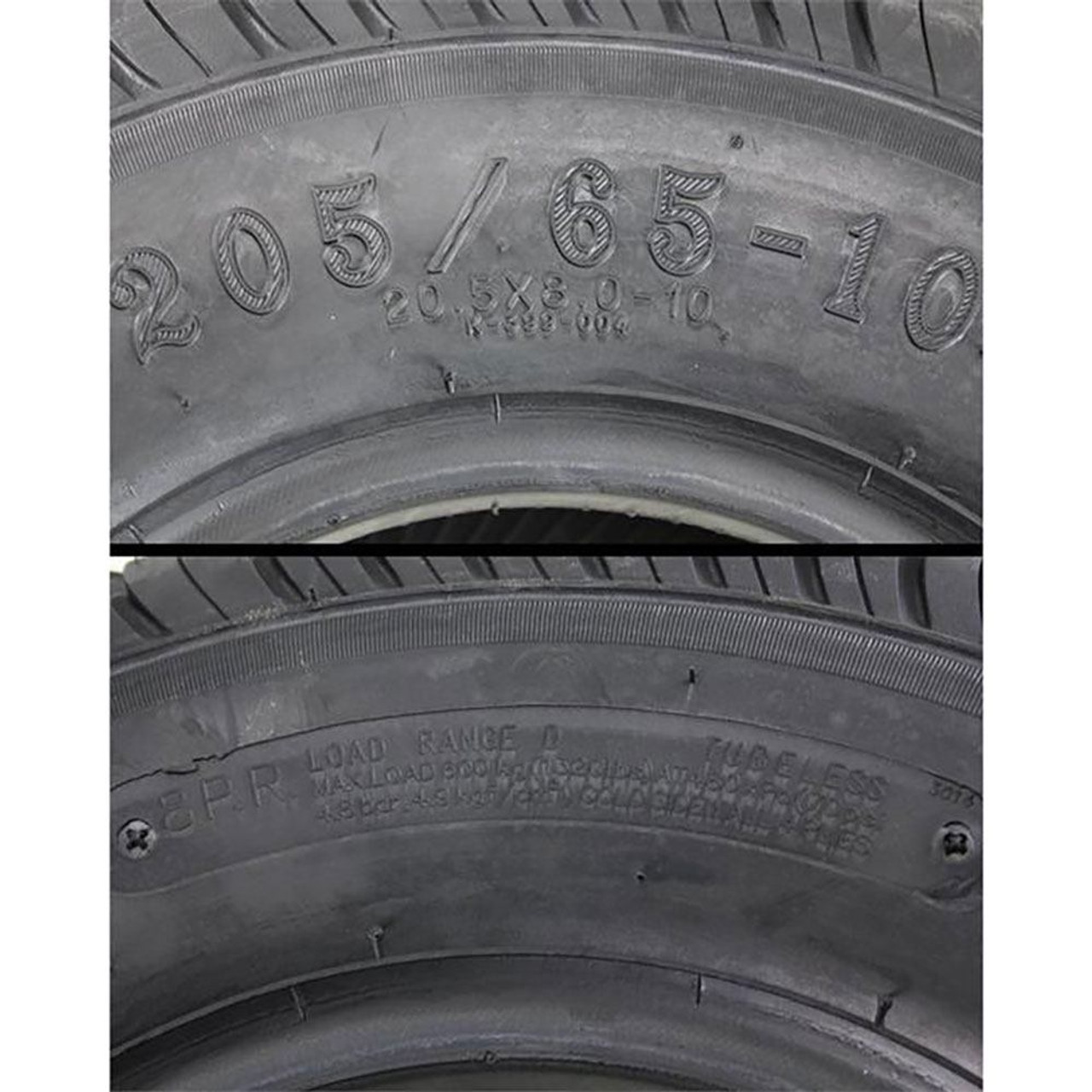 20.5X8.00-10 (205/65-10) Load Range D Bias Ply Trailer Tire - Kenda Loadstar