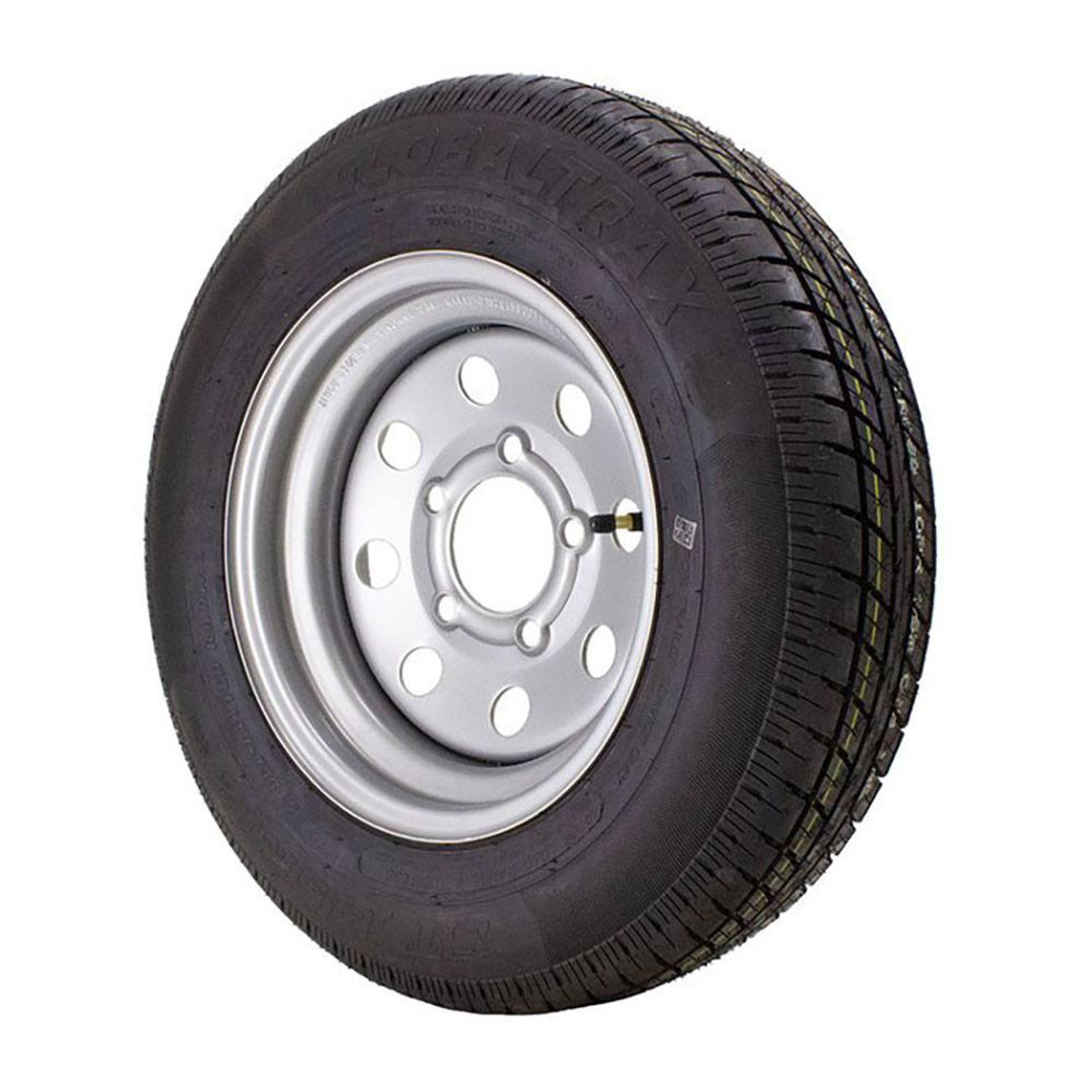 ST145/R12 GlobalTrax Trailer Tire LRE on 5 Bolt Silver Mod Heavy Duty Wheel