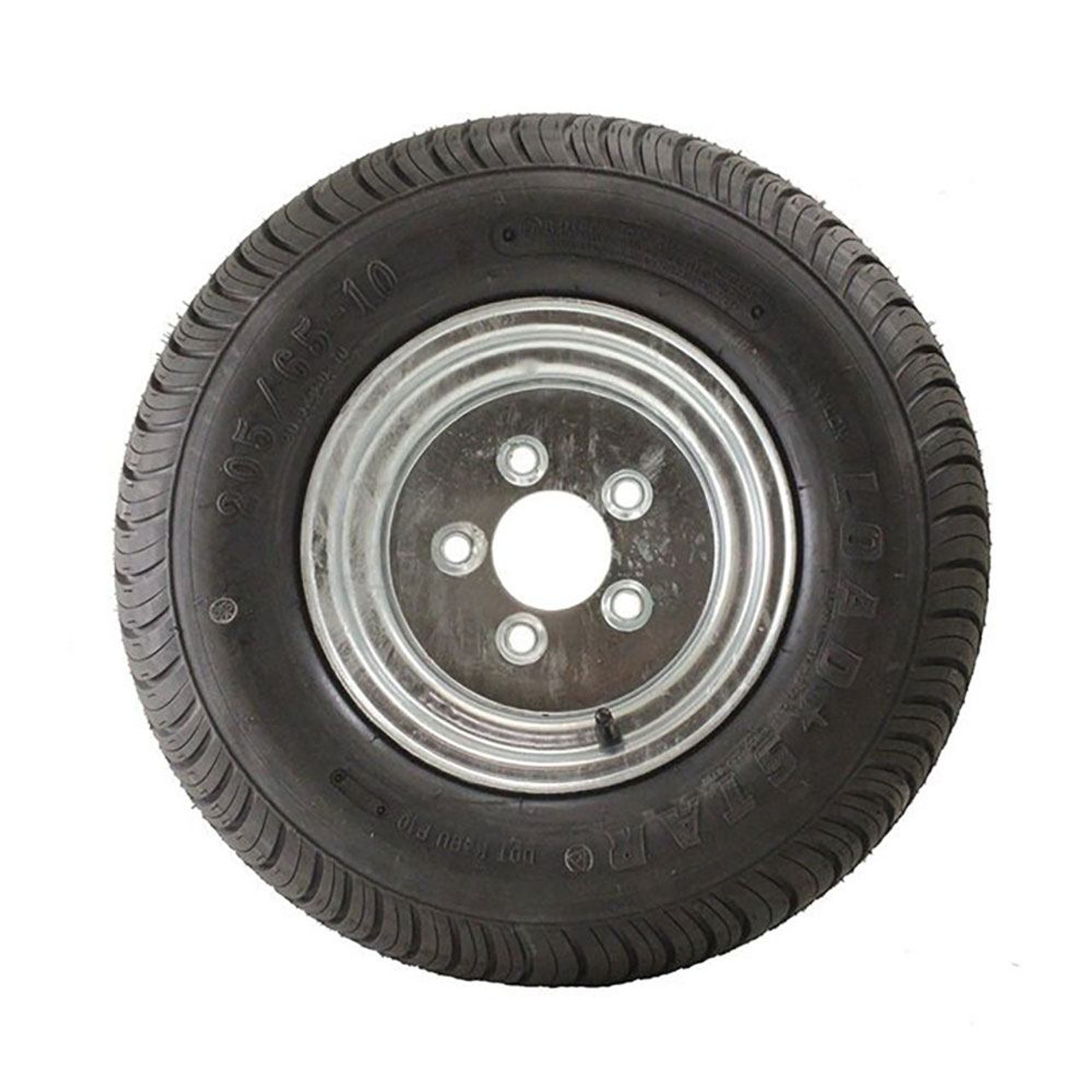 Load Range D Tire mounted on 5 bolt GALVANIZED steel rim D.O.T Approved 205-65-10//20.5-8.0-10 // M.O.T