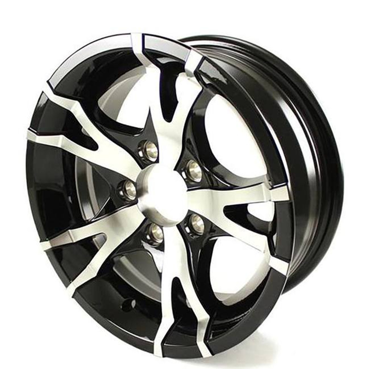 "14X5.5 5-Lug on 4.5"" Aluminum T07 Trailer Wheel - Black - T07-45545BM"