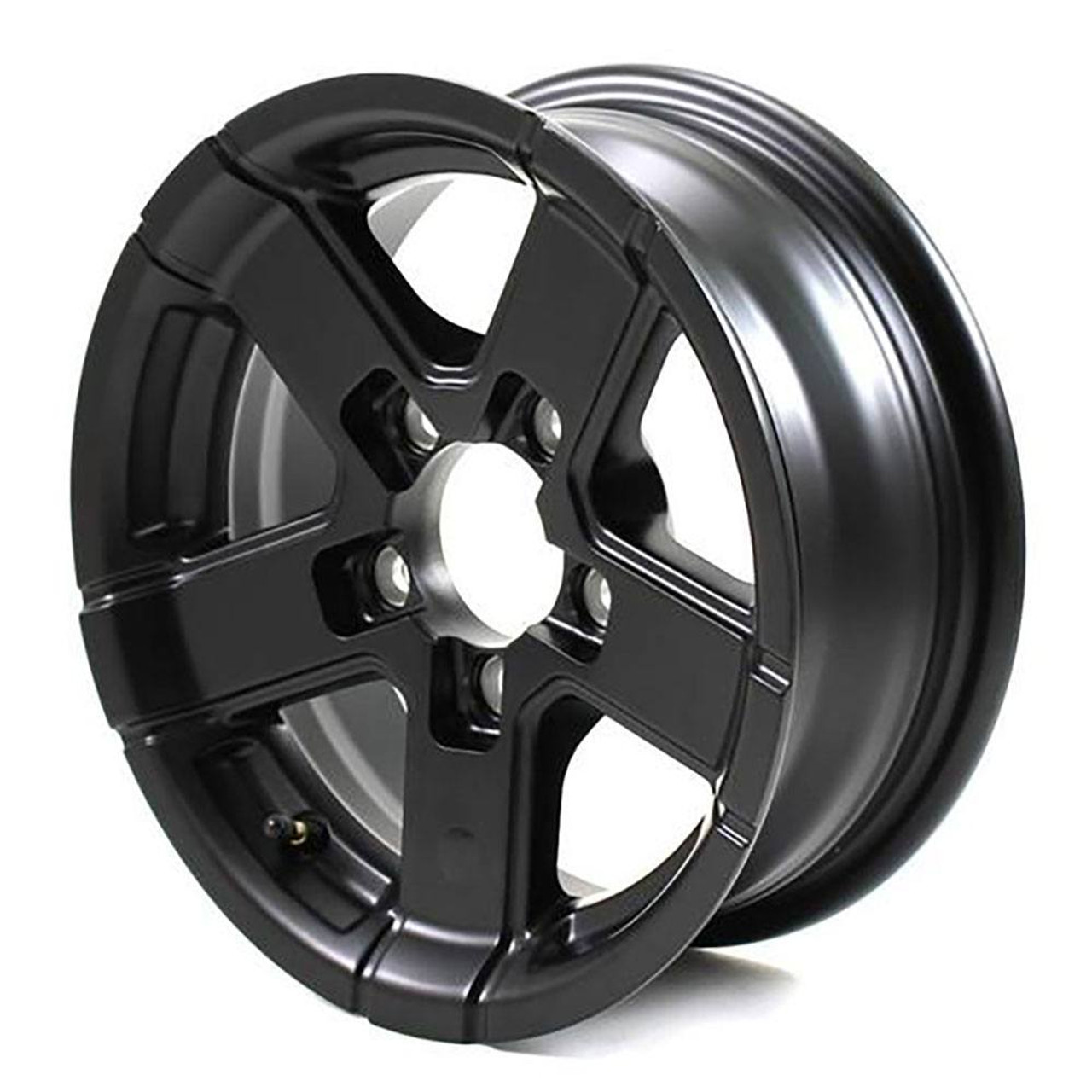 "14X5.5 5-Lug on 4.5"" Aluminum Series 07 Trailer Wheel - Full Black - 745545FPBM"