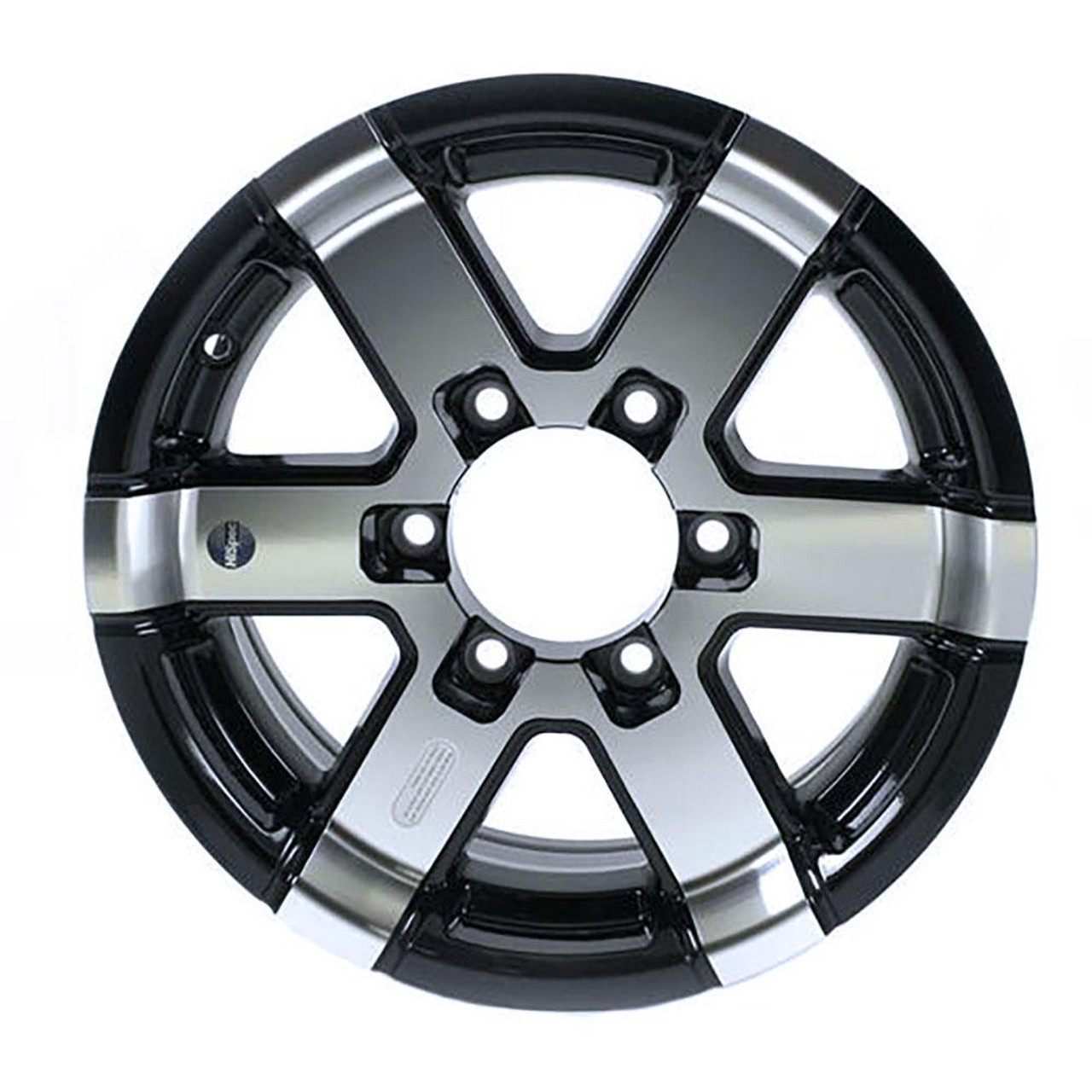 "15X6 6-Lug on 5.5"" Aluminum Series 07 Trailer Wheel - Black Inlay - 756655B"