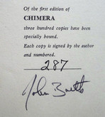 Chimera by John Barth, Signed First Edition, Unique Binding by Richard Tuttle