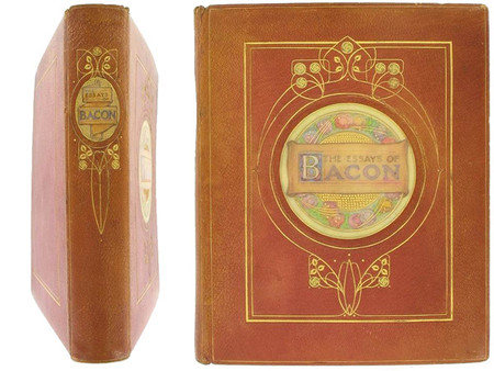 """The Essays of Bacon, 1900, Signed """"Vellucent"""" Binding by Cedric Chivers"""