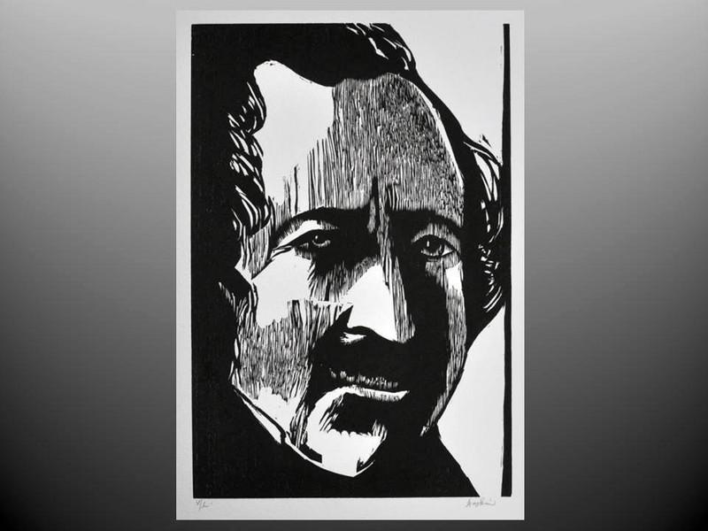 Leonard Baskin: Louis Jacques Mande Daguerre, Signed Woodcut Print