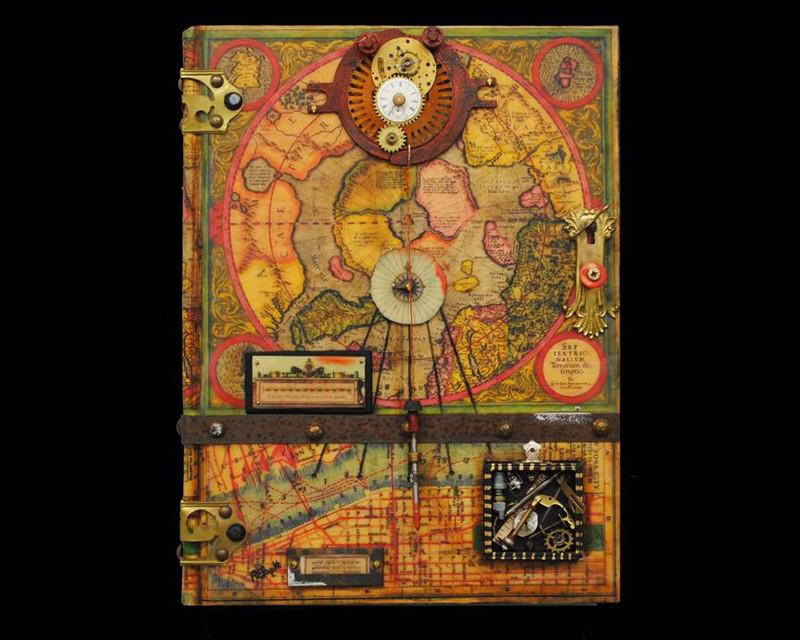 Mercator III by Raymond Papka, Unique Altered Book Sculpture