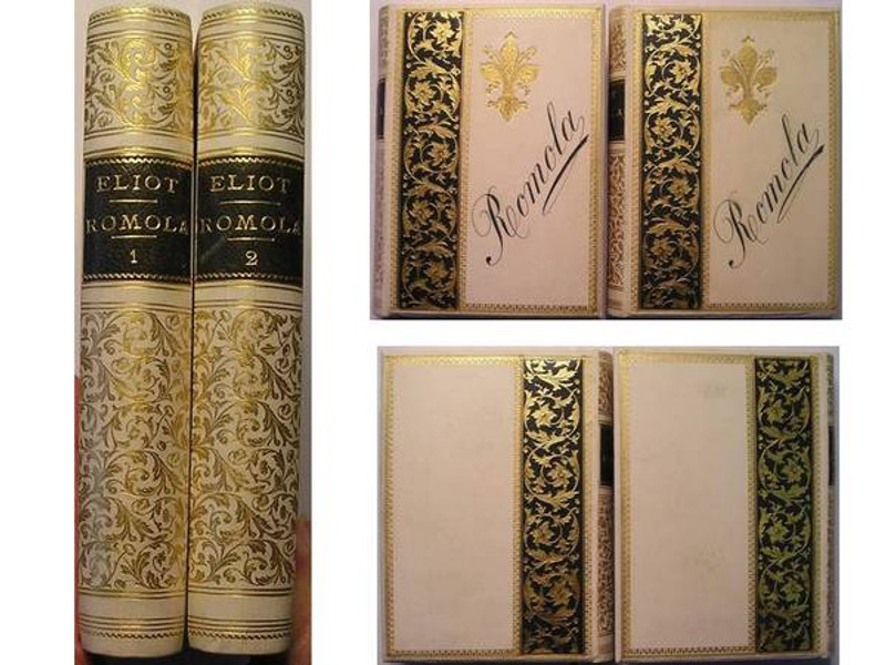 Romola by George Eliot, 1863, 2 Volumes, Inlaid Leather and Vellum Bindings