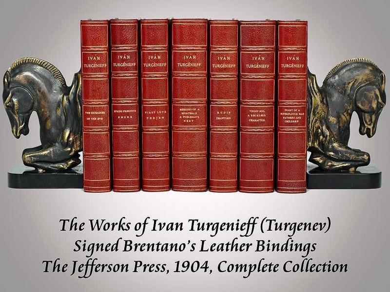 The Works of Ivan Turgenieff (Turgenev), 1904, Signed Brentano's Bindings