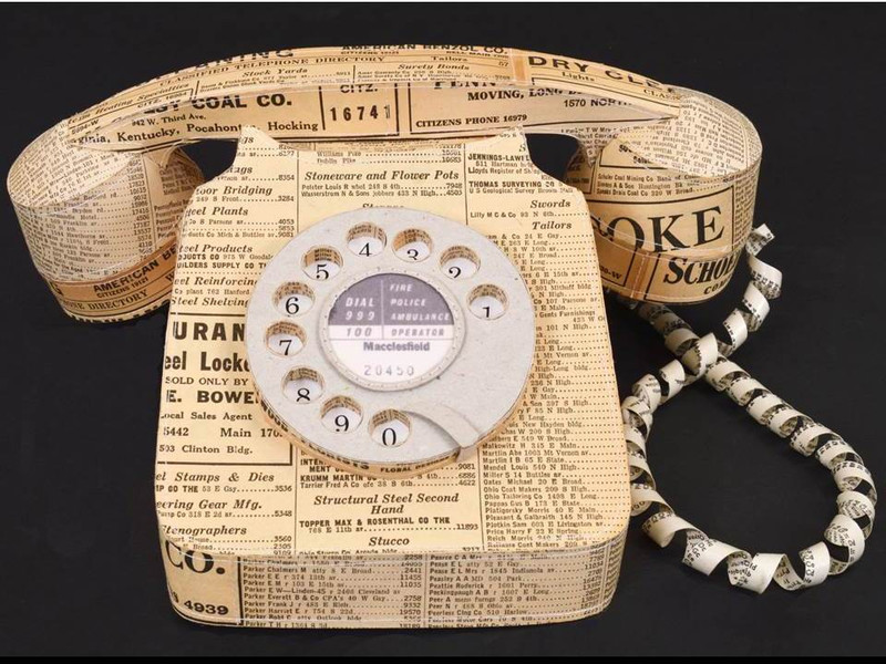 Vintage Paper Telephone by Jennifer Collier, Hand-Crafted Paper Sculpture