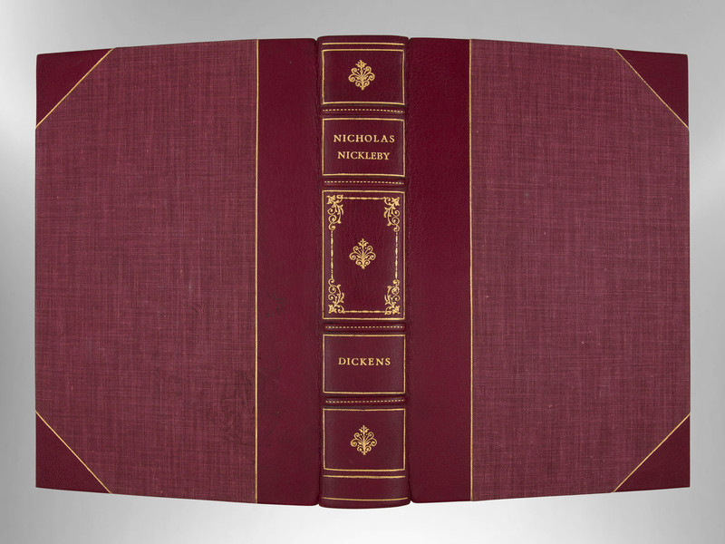 Nicholas Nickleby by Charles Dickens, Signed Custom Harcourt Binding