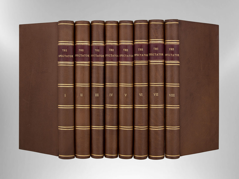 The Spectator, 1760, Eight Volumes, Signed Custom Harcourt Bindings