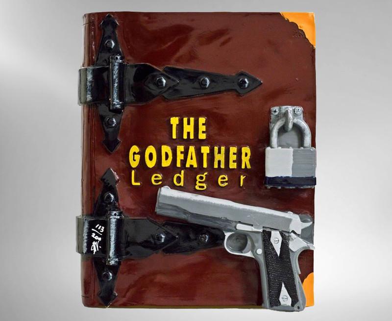 Steve Kaufman, The Godfather Ledger, Hand-Painted Acrylic Book Sculpture