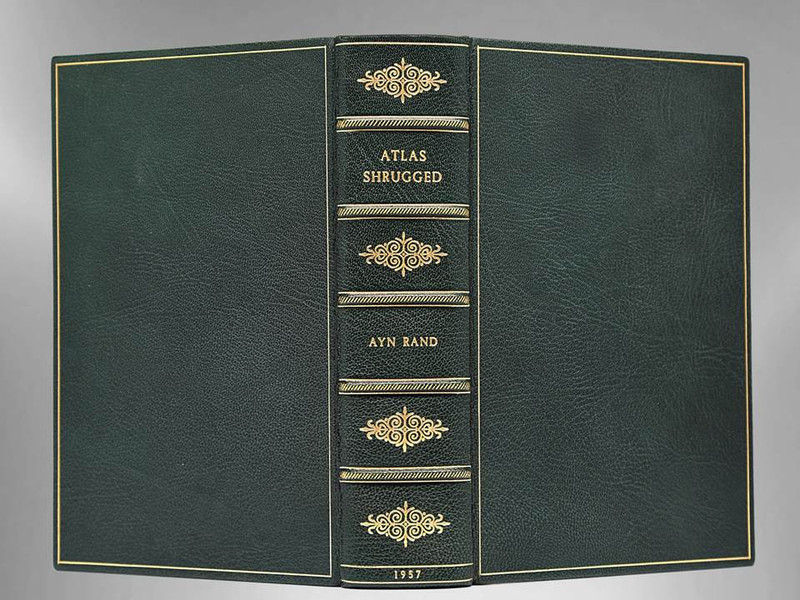 Atlas Shrugged by Ayn Rand, 1957, First Edition, Custom Leather Binding