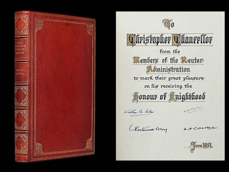Old English Sporting Books by Ralph Nevill, Presentation Copy, Zaehnsdorf Binding