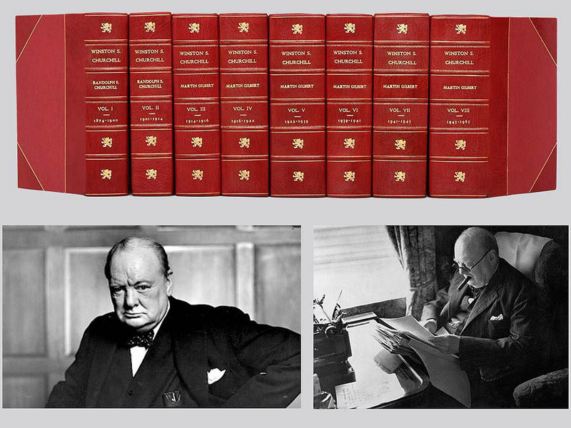 Official Winston S. Churchill Biography, First Editions, 8 Volumes, Full Leather Bindings