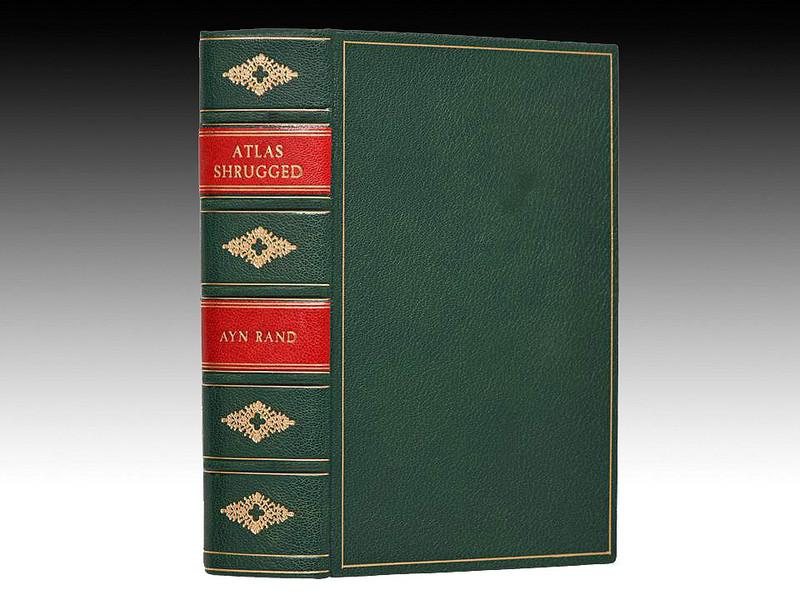 Atlas Shrugged by Ayn Rand, True First Edition, Custom Leather Binding