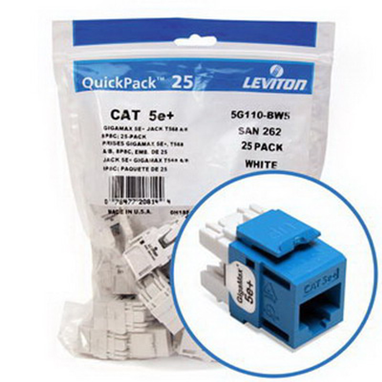 25-Pack New Leviton 5G108-BL5 GigaMax 5E QuickPort Connector Blue Cat 5E