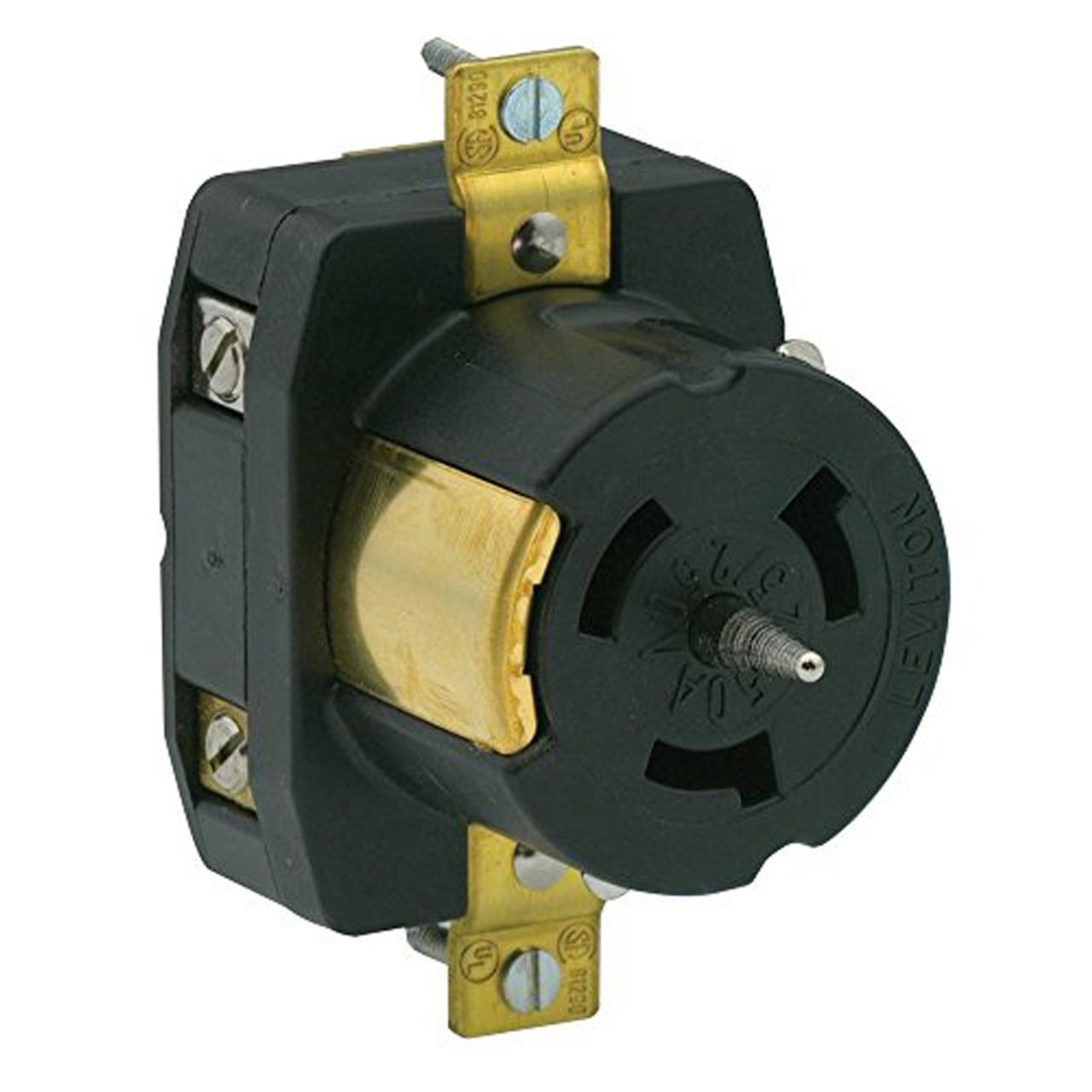NEW Leviton 3P 4W Black Single Lock Receptacle 30A 250V 2720