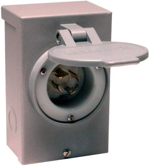 Reliance Controls PB30 Power Inlet, 30A, NEMA L14-30P, Recessed Inlet, NEMA 3R