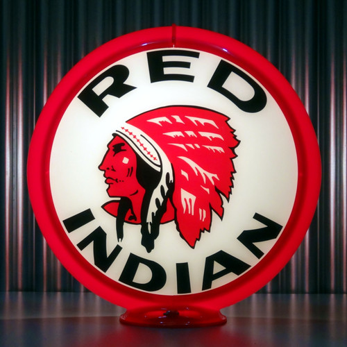 "Red Indian Gasoline - 13.5"" Gas Pump Globe"