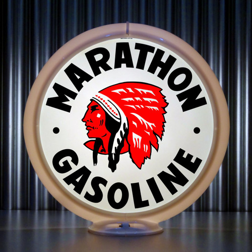 "Red Indian Marathon Gasoline - 13.5"" Gas Pump Globe"