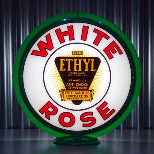 "White Rose Ethyl - 13.5"" Gas Pump Globe"