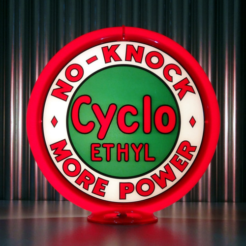 "Red Indian Cyclo Ethyl - 13.5"" Gas Pump Globe"