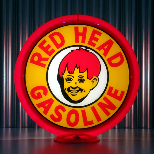 "Red Head Gasoline - 13.5"" Gas Pump Globe"