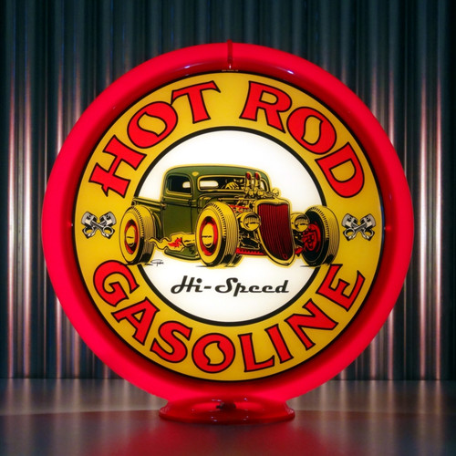 "Hot Rod Hi-Speed Gasoline - 13.5"" Advertising Globe"