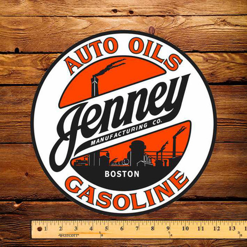 "Jenney Auto Oils Gasoline 12"" Pump Decal"